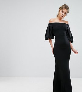 Read more about Tfnc off shoulder fishtail maxi dress with blouson sleeve - black