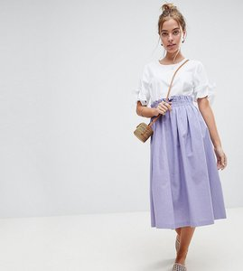 Read more about Asos petite tailored linen prom skirt - lilac