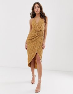 Read more about Asos design all over sequin drape midi dress with horn buckle