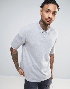 Read more about Asos knitted relaxed fit polo shirt in grey - highrise grey