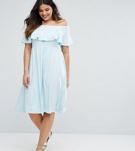 Read more about Asos curve ruffle bardot midi skater dress - pale blue