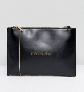 Read more about Johnny loves rosie hello you clutch bag - black