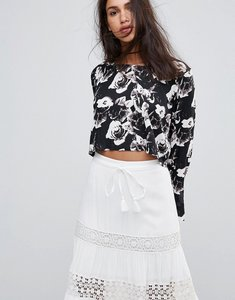 Read more about Rock religion floral frill long sleeve sleeve top - black white