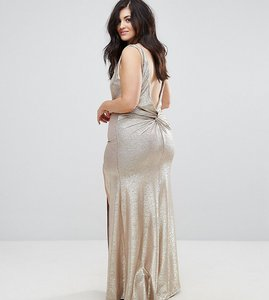 Read more about Tfnc plus high neck metallic maxi dress with back knot