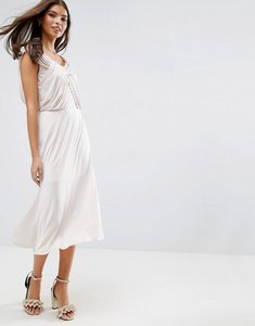 Read more about Asos wedding slinky drape front midi dress - stone