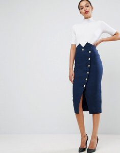 Read more about Asos tailored high waist pencil skirt with military button detail - navy