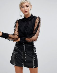 Read more about Lost ink shirt in delicate floral sheer - black