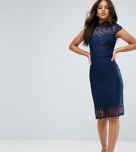 Read more about Chi chi london tall cap sleeve lace pencil dress in cutwork lace and high neck - navy