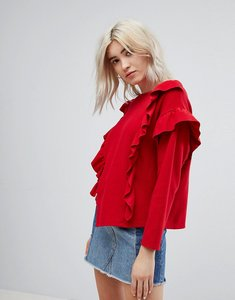 Read more about Bershka frill front sweater - red