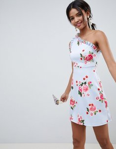 Read more about Asos design scuba one shoulder frill printed mini shift dress - print