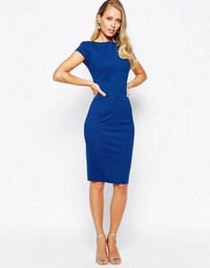 Read more about Closet london pencil dress with ruched cap sleeve - cobalt