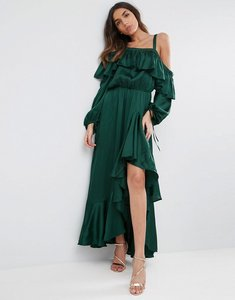 Read more about Asos cold shoulder ruffle maxi dress - green