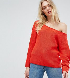 Read more about Noisy may tall slouchy knitted jumper - red