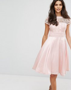 Read more about Chi chi london structured midi dress with lace upper - pink