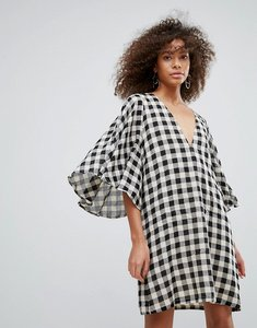 Read more about Traffic people gingham kimono sleeve shift dress - black