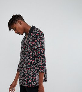 Read more about Reclaimed vintage inspired revere shirt in black floral print reg fit - black
