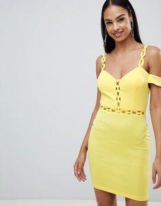 Read more about Rare london chain trim bardot bodycon dress - yellow