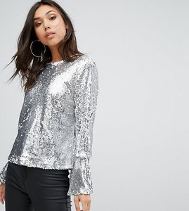 Read more about Prettylittlething sequin top - silver