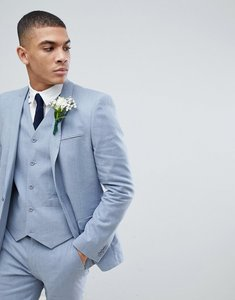 Read more about Asos wedding skinny suit jacket in blue linen - blue