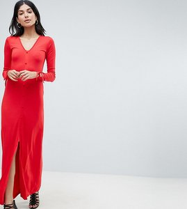 Read more about Asos design tall maxi tea dress with self covered buttons - red