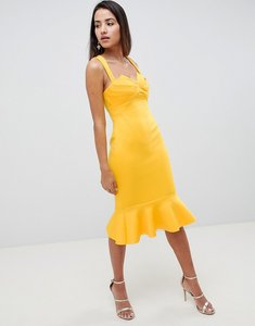 Read more about Asos design square neck fold front midi dress with pephem - marigold