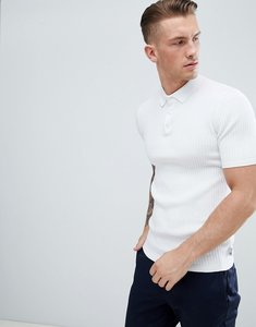 Read more about Burton menswear knitted ribbed polo in white - white