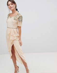 Read more about Virgos lounge laila embellished midi dress with thigh split detail - nude