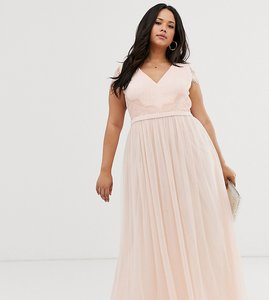 Read more about Little mistress plus lace back cap sleeve maxi dress in pink