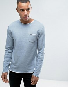 Read more about Esprit crew neck sweatshirt with raw edges and chest pocket - blue