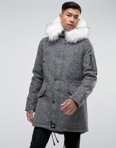 Read more about Sixth june parka jacket in grey wool with oversized faux fur hood - grey black