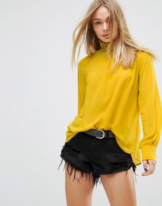 Read more about Glamorous high neck top with button back detail - yellow