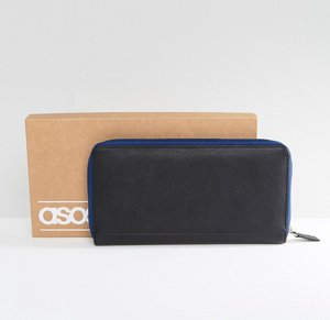 Read more about Asos leather travel document wallet in black with contrast navy zip - black