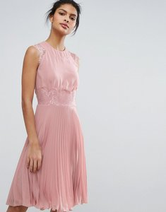 Read more about Elise ryan pleated midi dress with eyelash lace sleeves - pale mauve