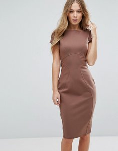 Read more about Closet london pencil dress with ruched cap sleeve - mink