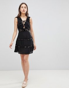 Read more about Glamorous lace up dress with frill - black