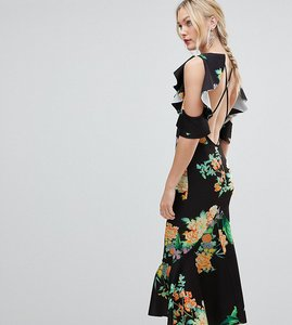 Read more about Asos design tall floral scuba ruffle cold shoulder pephem midi dress - multi