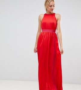Read more about Little mistress tall contrast pleated maxi dress in pomegranate