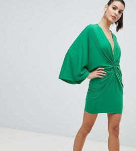 Read more about Flounce london wrap front kimono mini dress - green