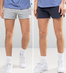Read more about Asos jersey runner short 2 pack navy grey marl save - navy grey marl