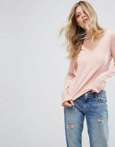 Read more about Vero moda v neck ruffle sleeve jumper - rose cloud