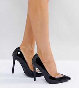 Read more about Missguided patent pointed heels court shoe - black