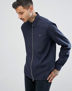 Read more about Farah cromwell zip thorugh crepe weave shirt in navy - navy