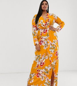 Read more about Missguided plus exclusive maxi dress with thigh split in yellow floral