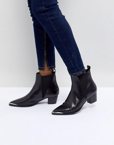 Read more about Office azalea black leather western tipped boots - black