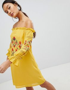 Read more about Parisian off shoulder embroidered dress - yellow