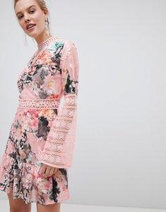 Read more about Liquorish floral ditsy print lace skater dress - multi