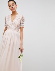 Read more about Club l short sleeve crochet lace maxi dress with v neck - light pink