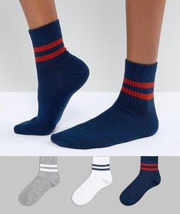 Read more about Asos 3 pack stripe ankle sock - multi
