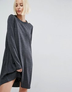 Read more about Asos knit dress with cut out neck detail - charcoal