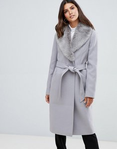 Read more about Asos design detachable faux fur collar coat with tie belt - grey